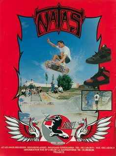 etnies - Natas Kaupas Ad (1989) Old School Skateboards, Vintage Skateboards, Skateboard Photos, Skateboard Girl, Ski, Snowboard Girl, Skate Art, Skate Decks, Aesthetic Images