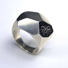 Silver Geometric Ring silver, black, jewelry carrie bilbo