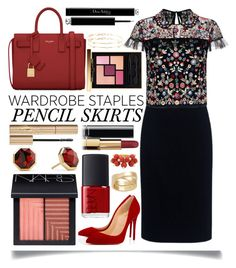 """Wardrobe Staples : Pencil Skirts"" by ittie-kittie ❤ liked on Polyvore featuring Christian Dior, Theory, Needle & Thread, Christian Louboutin, Yves Saint Laurent, NARS Cosmetics, David Yurman, Loren Stewart, Stila and Chanel"