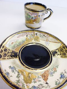 JAPANESE SATSUMA Cup & Saucer GEISHA Girls Lot 2 Demitasse Porcelain GOLD Gilt