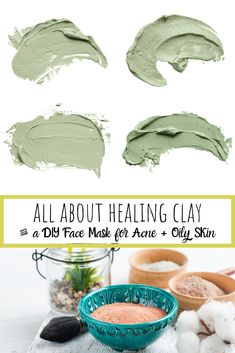 Mar 2020 - DIY Face Mask for acne and oil prone skin. Everything you need to know about the different kinds of healing and antibacterial clay plus a face mask formula. Pimple Mask, Face Mask For Pimples, Mask For Oily Skin, Acne Face Mask, Clay Face Mask, Skin Mask, Face Mask Ingredients, Healing Clay, Clay Faces