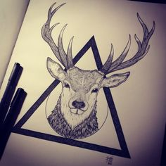 Kancha Magala - Instagram @_kancha_ Stag, geometry, dotwork #deer #tattoo #ink #blackwork #tats #dotswork