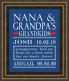 Grandparents Day - Gifts for Grandparents - Personalized Grandparent Print - Fully Customized - Gifts for Grandparents
