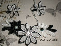 Black & White kanzashi parure