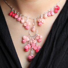 pequeñas rosas quilling de papel araña de plata esterlina collar