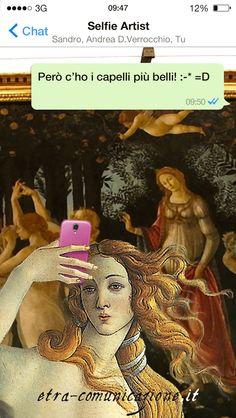 Selfie artist dedicato a Sandro Botticelli (Alessandro di Mariano di Vanni Filipepi) (Firenze, 1º marzo 1445 – Firenze, 17 maggio 1510) #selfie #arte #selfieartist #sandrobotticelli #botticelli #venere #nascitadivenere #primavera #uffizi #firenze #chat #whatsapp #social #socialnetwork #fotografia