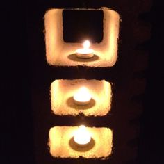 Cinder block outdoor candle holder :) my mom's idea