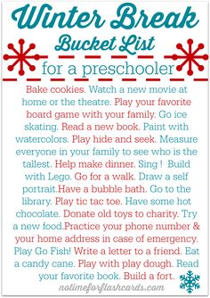 FREE PRINTABLE Winter break bucket list - great activities to stop cabin fever and maybe even sneak in a little learning!