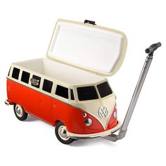 Board Masters Volkswagen Cool Box Rolling Cooler with Wheels and Handle - 31 Quart Hard Portable Ice Chest Wagon with Secure Lock - VW Bus Accessories Volkswagen Bus, Vw Camper, T1 Bus, Vw T1, Retro Cooler, Cooler With Wheels, T1 Samba, Campervan Gifts, Rolling Cooler