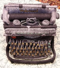 Hand dyed, hand embroidered felt typewriter.