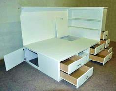 Orlando Platform Bed w' Storage 7 Drawers, Multiple Shelves and Deep Storage Murphy Bed Ikea, Murphy Bed Plans, Bed Storage, Bedroom Storage, Drawer Storage, Storage Area, Hidden Storage, Storage Shelves, Orlando