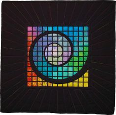 Black Spiral by Marcy Horswill. The center starts with muted harmonious colour, which turns to bright contrasting color. Stained Glass Quilt, Geometric Quilt, Rainbow Quilt, Elements And Principles, Sunflower Design, School Art Projects, Color Harmony, Artist Gallery, Quilting Designs