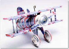 DIY model airplane made out of beers can. For chris to hang in his man cave garage:)