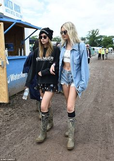 Matching: The girls all sported the celeb-favourite brand of Hunter wellies...