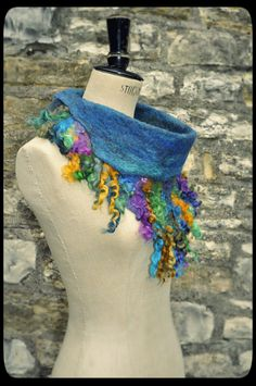 Felt Collar Cowl Button up Neckwarmer  'Water by Innerspiral, £56.00, $95USD
