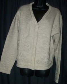 "$26.99 Coldwater Creek Camel 100% Wool Cardigan Sweater L 44"" Bust"