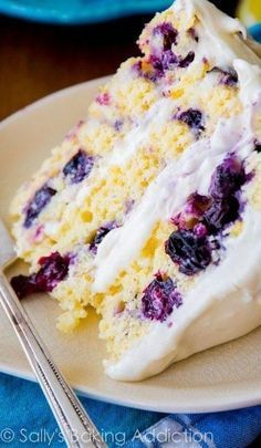 Lemon Blueberry cake with cream cheese frosting. My next bday cake!