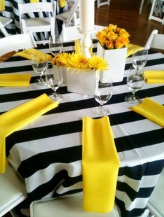 Wedding table settings yellow party ideas 47 trendy ideas Wedding table settings yellow party ideas 47 trendy ideas This image. Black And White Party Decorations, Navy Yellow Weddings, Sunflower Party, Yellow Birthday, Yellow Table, Bee Party, Bee Theme, Wedding Table Settings, Decoration Table