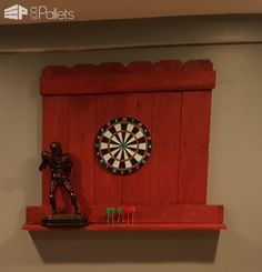 I built this Pallet Dartboard Surround to protect my walls in case anyone is a poor aim. I made this surround to measure approximately wide x tall. Dartboard Backer, Dartboard Surround, 1001 Pallets, Dart Board, Christmas Decorations, Walls, Clock, Rustic, Gift Ideas