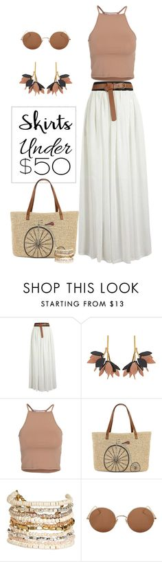 """""""Summer Essentials"""" by patricia-dimmick on Polyvore featuring Marni, NLY Trend, Straw Studios, Panacea, Sunday Somewhere, maxiskirt, longSkirt, under50 and skirtunder50"""