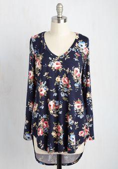 Embracing Basic Top in Navy Bloom - Blue, Blue, Floral, Lounge, Boho, Long Sleeve, Best, Variation, V Neck, Long, Knit