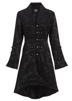 Womens Black Brocade Gothic Steampunk Floral Jacket Coat at Amazon Women's Coats Shop