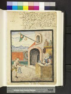 1591. a draper recieving a jug of wine  Die Hausbücher der Nürnberger Zwölfbrüderstiftungen