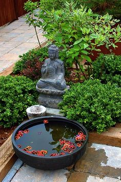 Buddha Garden Ideas Buddha Garden Ideas What is a Buddhist garden? A Buddhist garden can display Buddhist imagery and art, but more importantly, any simple, orderly garden can reflect the Buddhist principles of peace,… Asian Garden, Mini Zen Garden, Water Garden, Dream Garden, Fountain Garden, Garden Fountains, Garden Statues, Zen Garden Design, Japanese Garden Design
