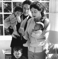 Bob Dylan, Sara Dylan, Jesse Dylan, Anna Dylan In her father's arms and Sam Dylan In his mother's arms.