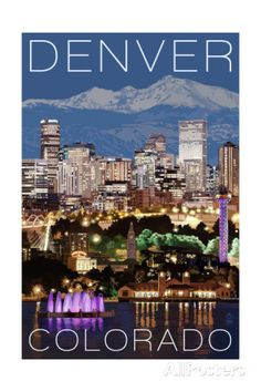 Denver, Colorado - Skyline at Night Posters by Lantern Press at AllPosters.com