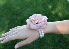Fabric Flower: Dusty Pink Romantic Rose Wrist Corsage Bracelet. $24.50, via Etsy.