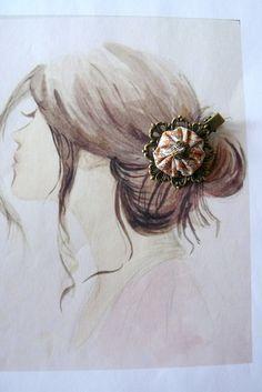 Barrette crocodile,tissu soie orange et beige,perle swarovski,Style Bohême : Accessoires coiffure par mon-armoire-jolie