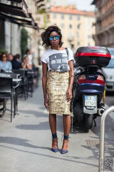 12. A #T-shirt Looks #Perfect with a Pencil #Skirt - Outfits to Try #when… #Trendy