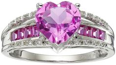 White Gold Created Pink Sapphire Heart with Diamond Accent Ring, Size 7 Black Diamond Jewelry, Pink Jewelry, Sapphire Jewelry, Jewelery, Women's Jewelry, Latest Jewellery Trends, Jewelry Trends, Pink Sapphire, Yellow Diamonds