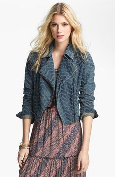 Free People 'Punched' Denim Biker Jacket available at Nordstrom
