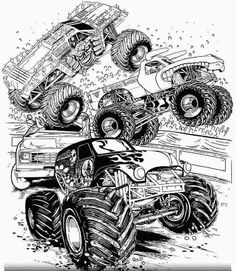 Monster Truck Coloring Pages. Printable monster truck coloring pages. See the images below. Monster Truck Drawing, Monster Truck Coloring Pages, Cars Coloring Pages, Free Coloring Sheets, Coloring Pages For Boys, Coloring Pages To Print, Free Printable Coloring Pages, Coloring Books, Monster Jam