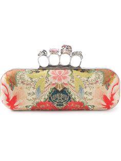 Cotton  Knucklebox  clutch from Alexander McQueen featuring a floral print 06138919053e5