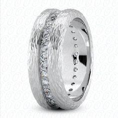 Men's Wedding Band White Gold with White Diamonds by JPoliseno, $2800.00