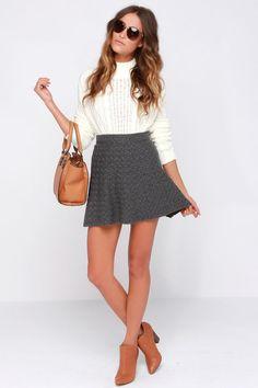 Stuck on Rewind Grey Skirt at Lulus.com!