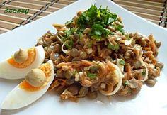 Mustáros - tojásos lencsesaláta recept képpel. Hozzávalók és az elkészítés részletes leírása. A mustáros - tojásos lencsesaláta elkészítési ideje: 40 perc