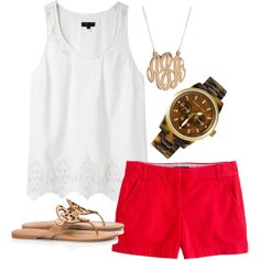 red shorts, white top. great for summer