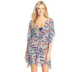 Profile by Gottex 'Matrix' Print Mesh Cover-Up ($98) ❤ liked on Polyvore featuring swimwear, cover-ups, blue multi, gottex swimwear, beach cover up, print swimwear, crochet cover-up and gottex