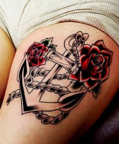 cool roses tattoos on thigh