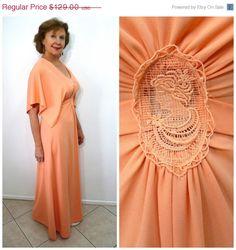 SALE Vintage 60s Dress Pink Peach Cape Maxi by KMalinkaVintage