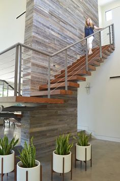 Love staircase, could do similar in entry with maybe stone feature wall??