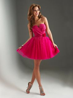 fantasy pink short homecoming dress, i dont like the plunge in the middle though