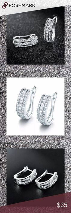 JUST IN🆕 18k White GF Sapphire Huggie Earrings Metal Type: 18k White Gold Filled Gem Type: White Sapphire crystal Gem quantity: 72 Main gem size: 3mm*3mm Earring size: 22mm*15mm Total Weight: 7.6g  ⭐️⭐️SORRY NO TRADES AND LOWBALL OFFERS WILL BE IGNORED ⭐️⭐️  ✂️LOWBALL OFFERS WILL BE IGNORED✂️ Glam Squad 2 You Jewelry Earrings