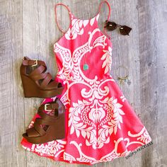 Subscribe to my YouTube channel ~~> woahitssummer Summer Wardrobe, Coral Sundress, Pink Dress, Dress Me Up, Summer Clothes, Cute Summer Outfits, Spring Outfits, Cool Outfits, Sundresses