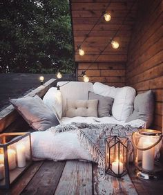 Setting the mood. Gorgeous boho outdoor cuddle spot.