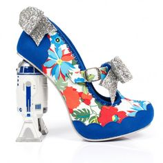 The perfect pair to fix any wardrobe malfunctions, Floral Artoo feature flowery fabric uppers with scalloped faux suede on the toe and counter and glittering silver bow trims. With R2-D2 heels providing a showstopping finish, this stunning pair are a fabulous celebration of the heroic droid.